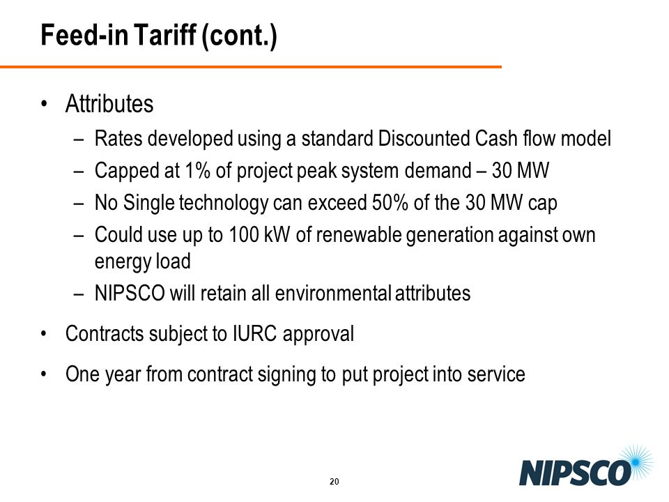 Feed-in Tariff (cont.) Attributes