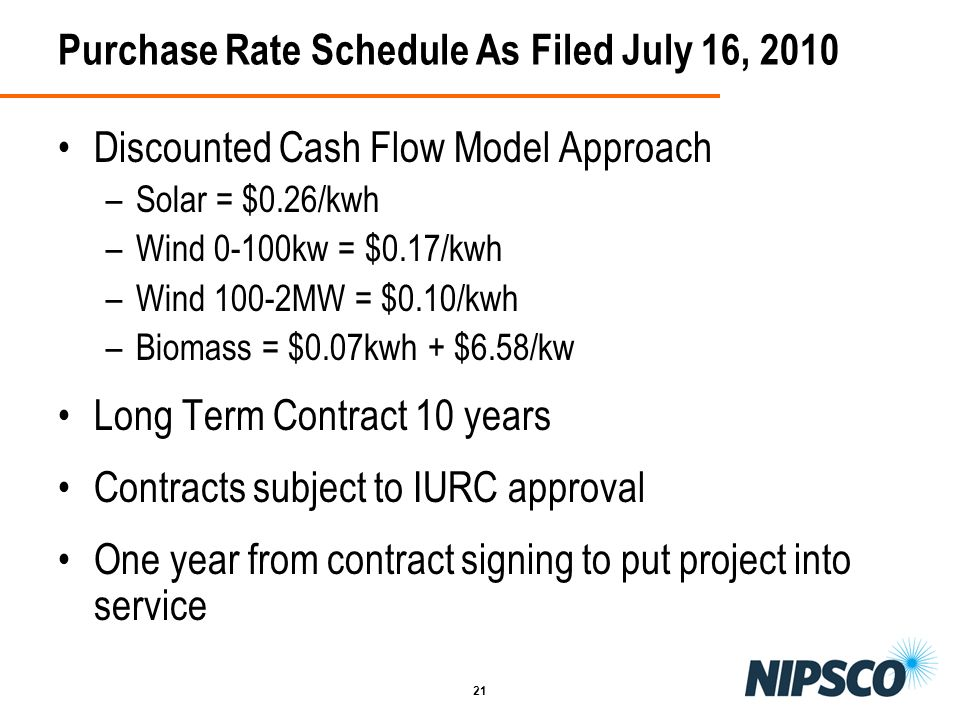 Purchase Rate Schedule As Filed July 16, 2010