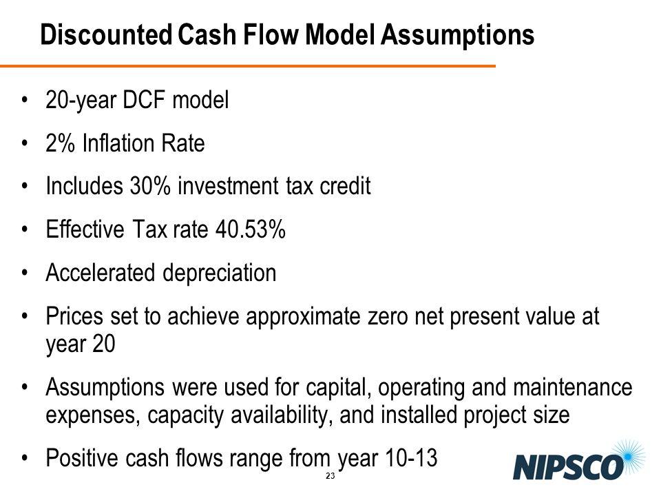 Discounted Cash Flow Model Assumptions