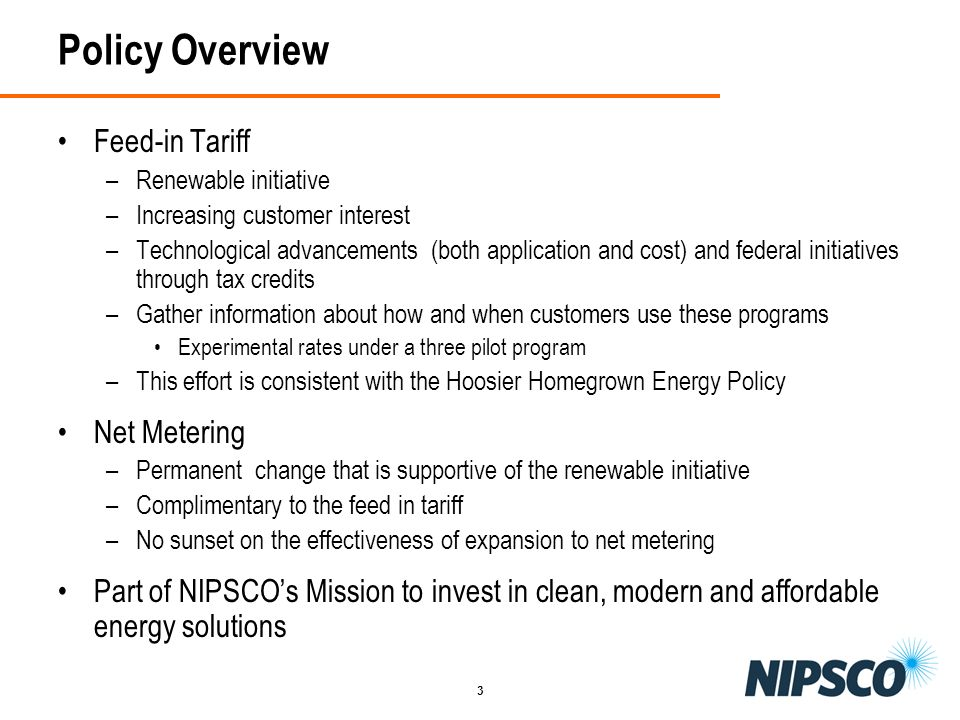 Policy Overview Feed-in Tariff Net Metering