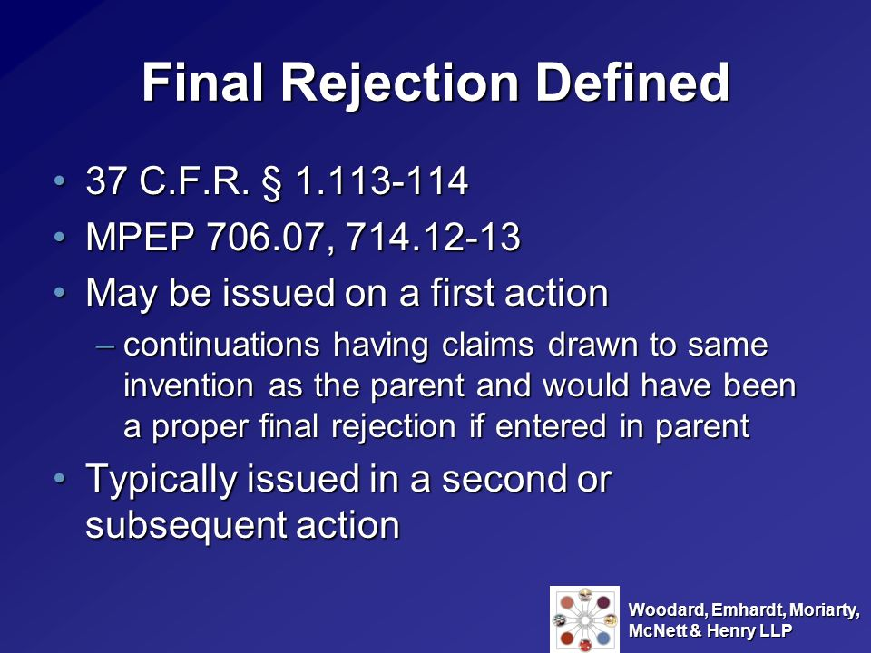 Final Rejection Defined