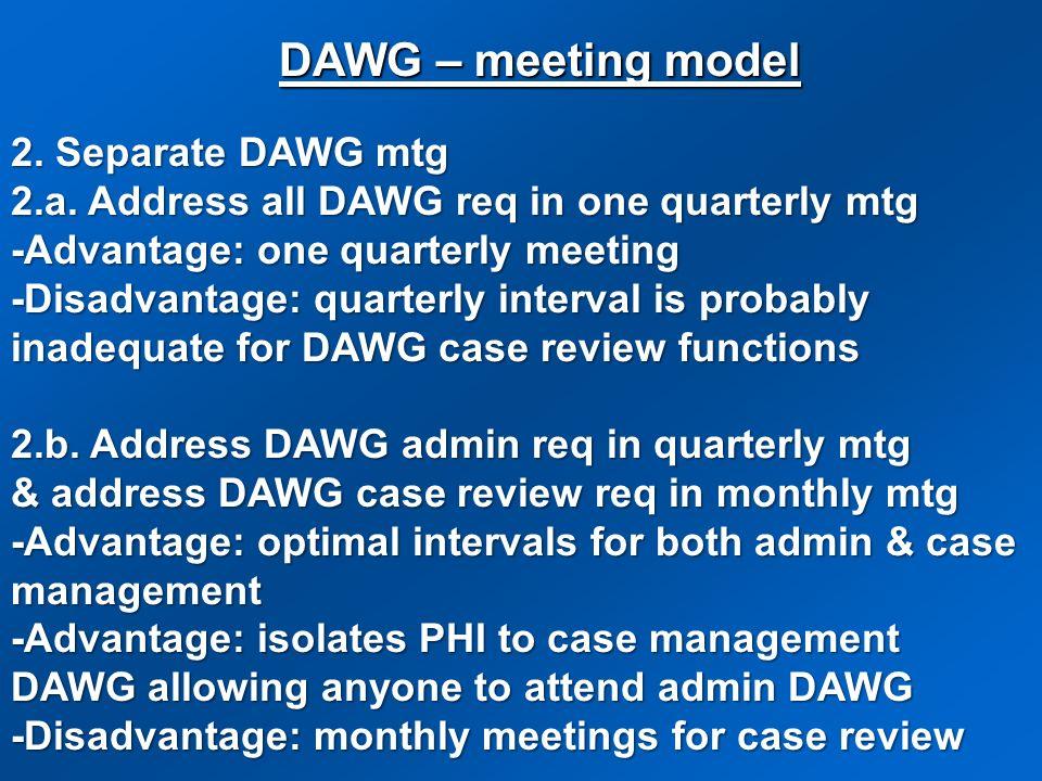 DAWG – meeting model 2. Separate DAWG mtg