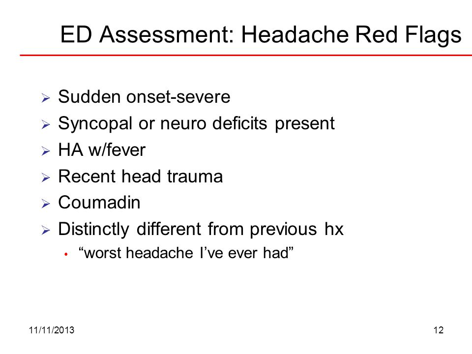 ED Assessment: Headache Red Flags