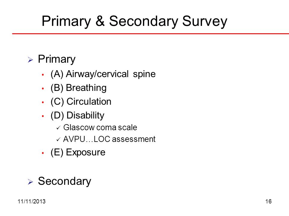 Primary & Secondary Survey