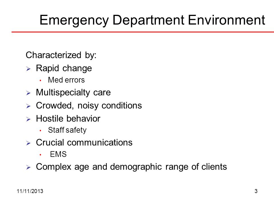 Emergency Department Environment