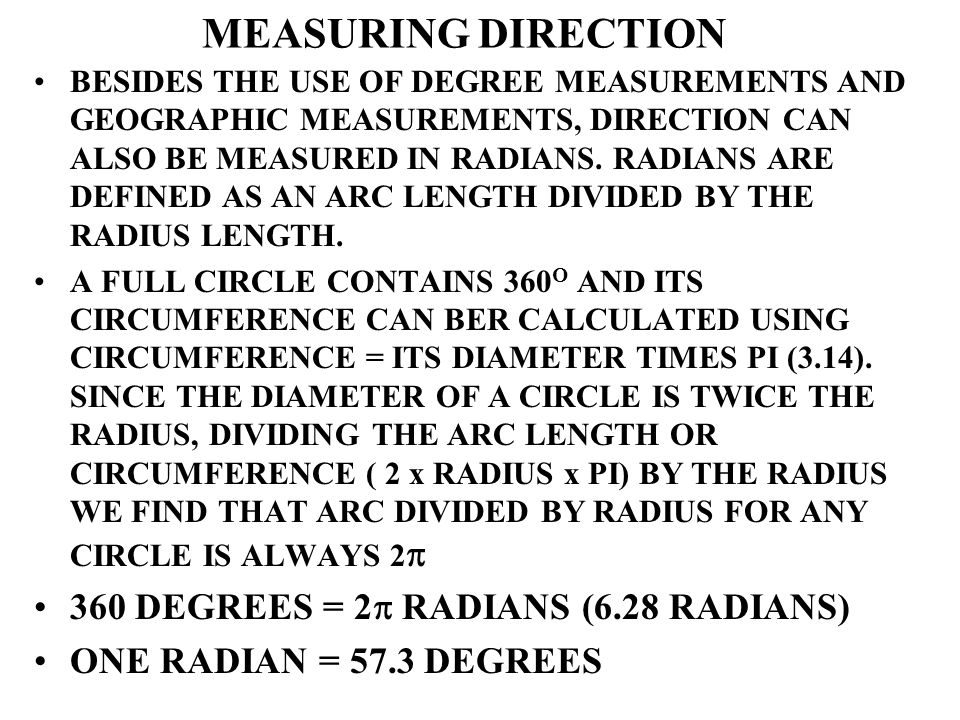 MEASURING DIRECTION 360 DEGREES = 2 RADIANS (6.28 RADIANS)