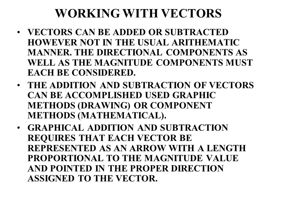 WORKING WITH VECTORS