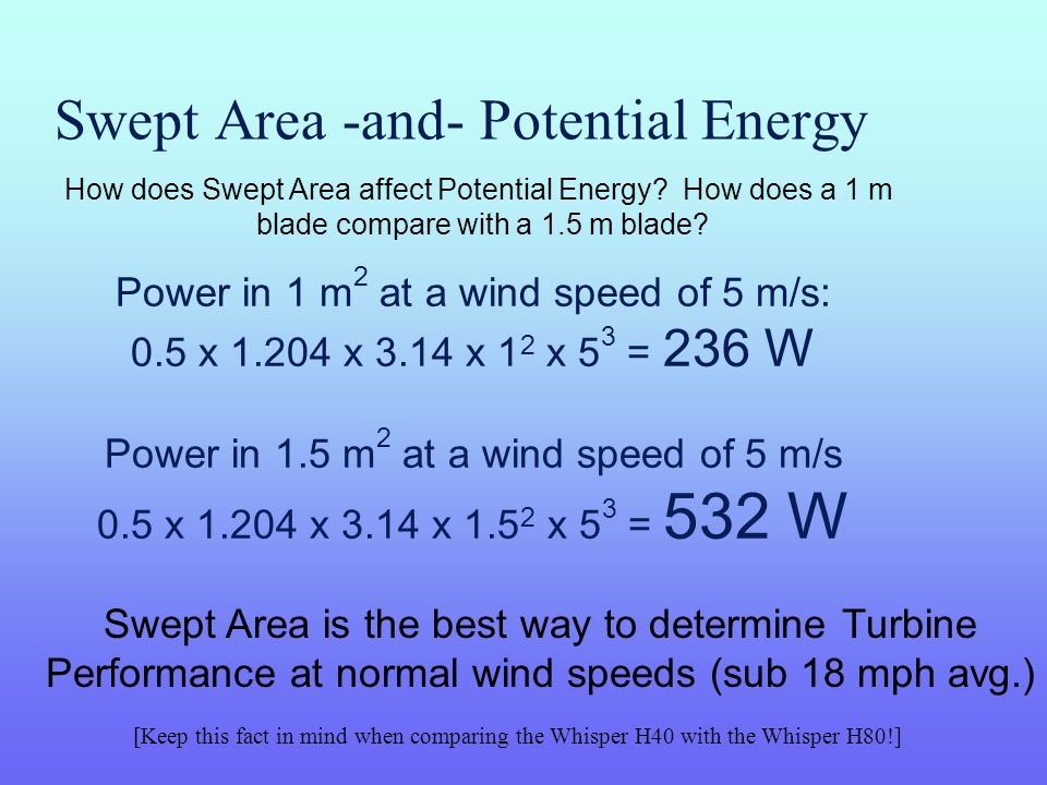 Swept Area -and- Potential Energy