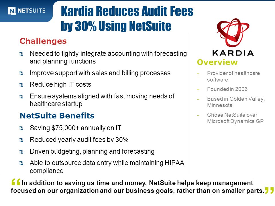 Kardia Reduces Audit Fees by 30% Using NetSuite