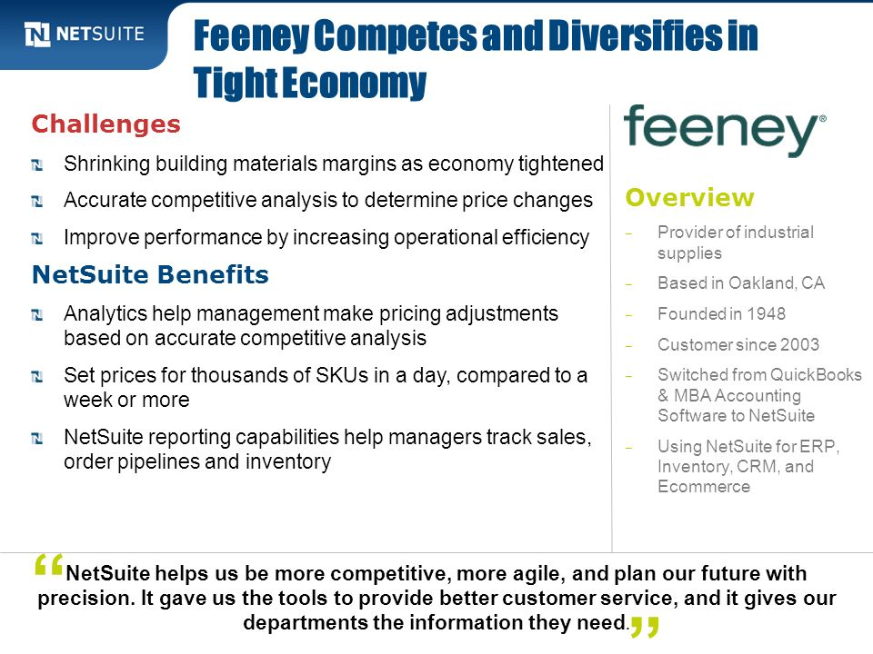 Feeney Competes and Diversifies in Tight Economy
