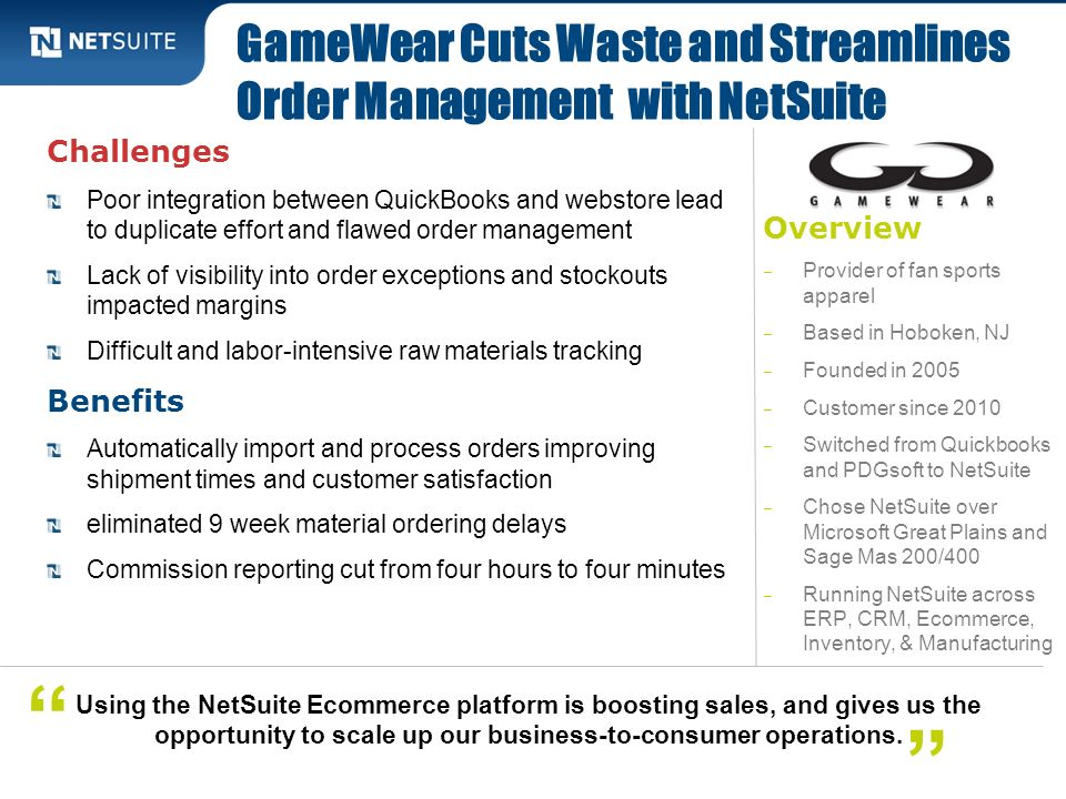 GameWear Cuts Waste and Streamlines Order Management with NetSuite