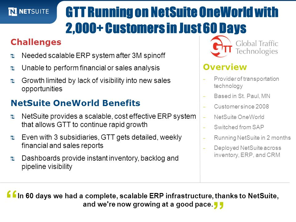 GTT Running on NetSuite OneWorld with 2,000+ Customers in Just 60 Days