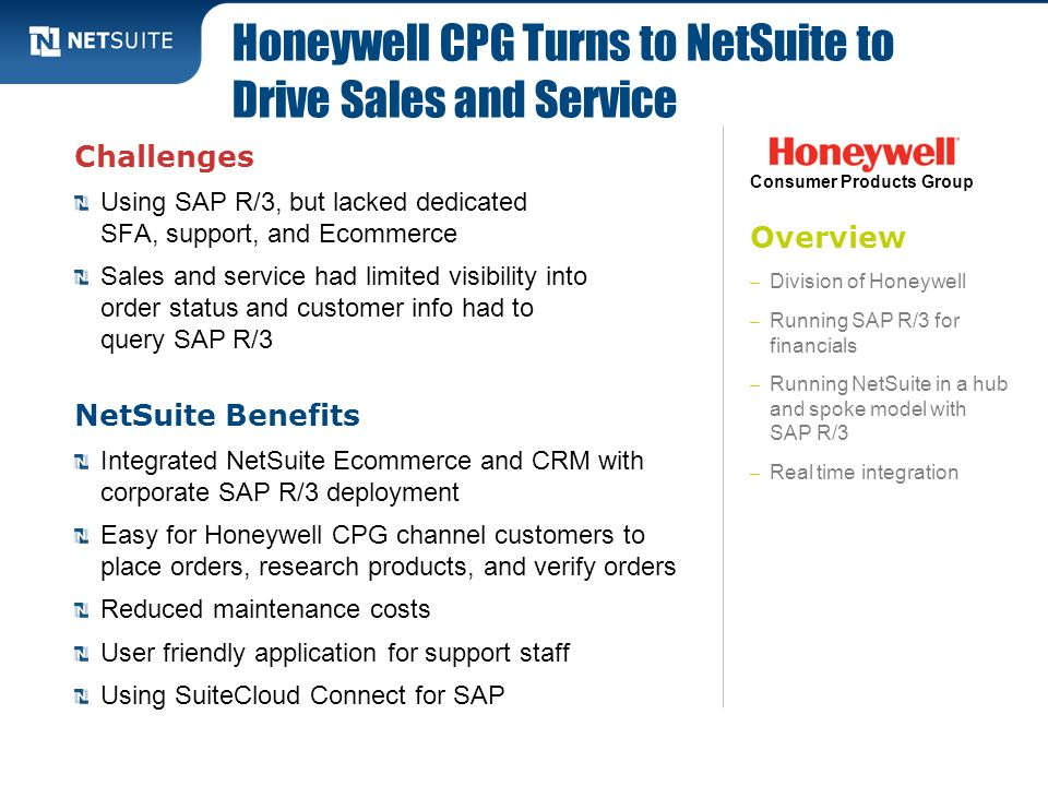 Honeywell CPG Turns to NetSuite to Drive Sales and Service