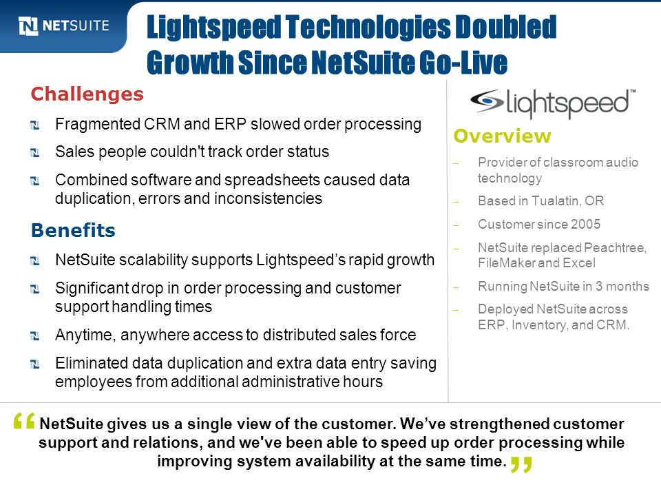 Lightspeed Technologies Doubled Growth Since NetSuite Go-Live
