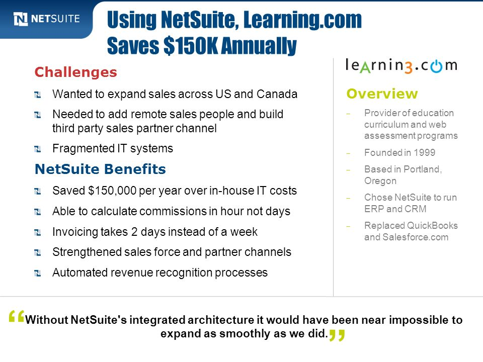 Using NetSuite, Learning.com Saves $150K Annually