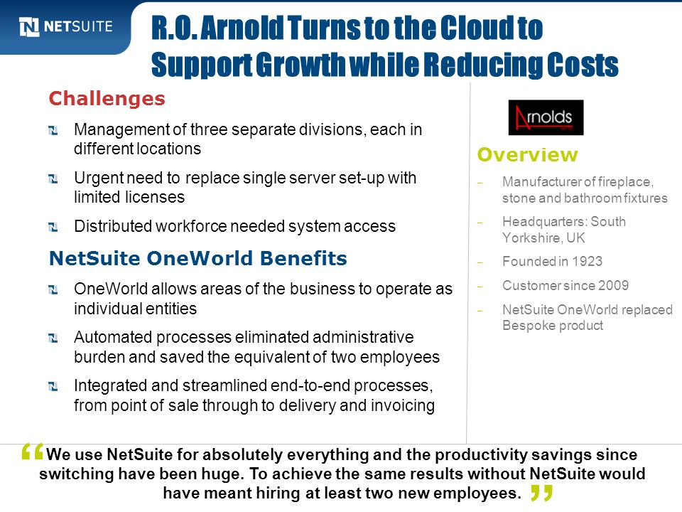 R.O. Arnold Turns to the Cloud to Support Growth while Reducing Costs