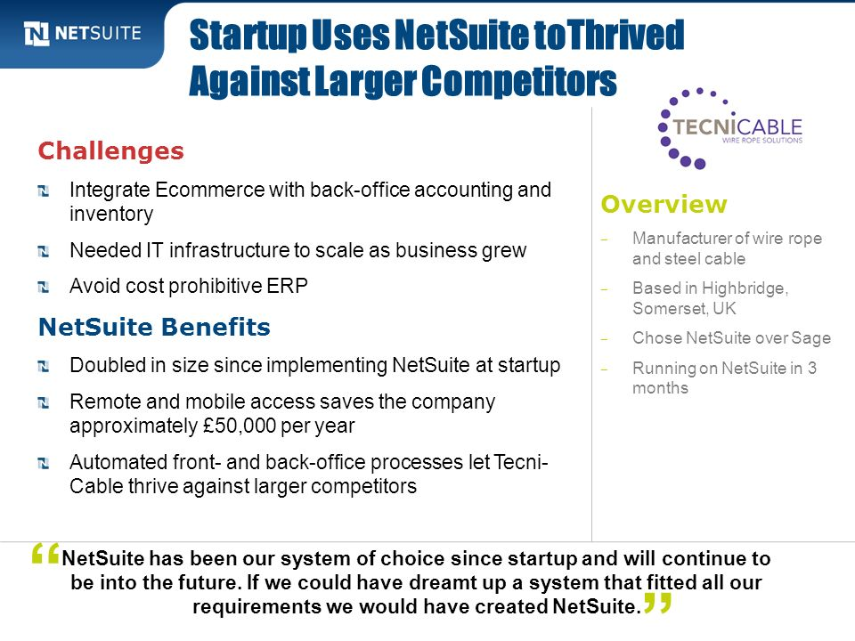 Startup Uses NetSuite toThrived Against Larger Competitors