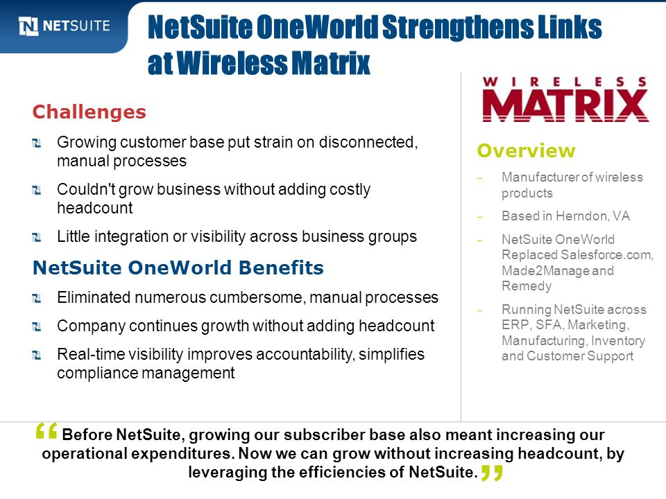 NetSuite OneWorld Strengthens Links at Wireless Matrix