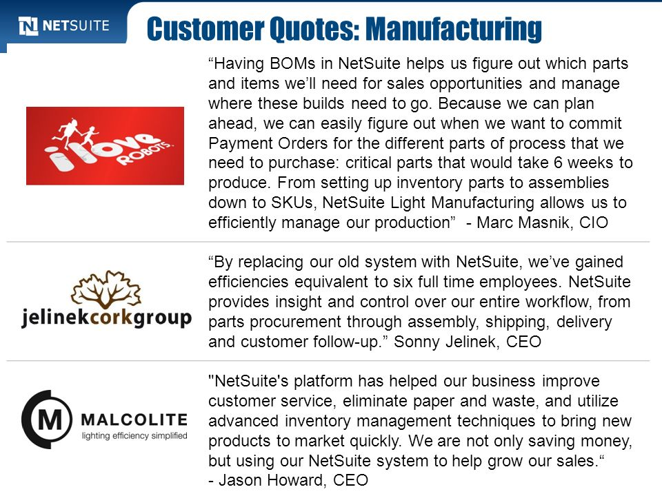 Customer Quotes: Manufacturing