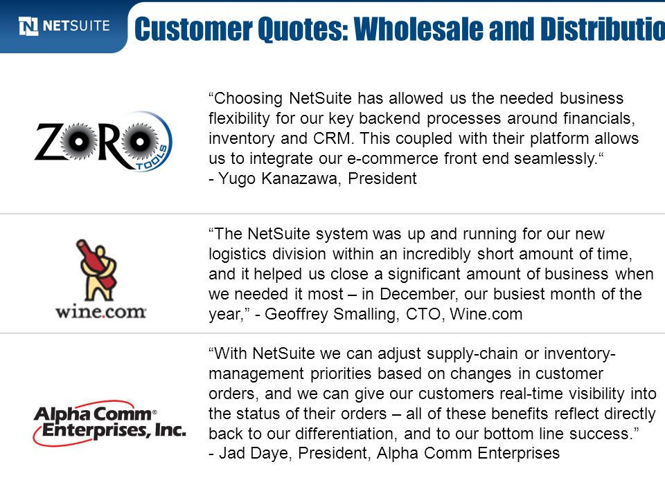 Customer Quotes: Wholesale and Distribution