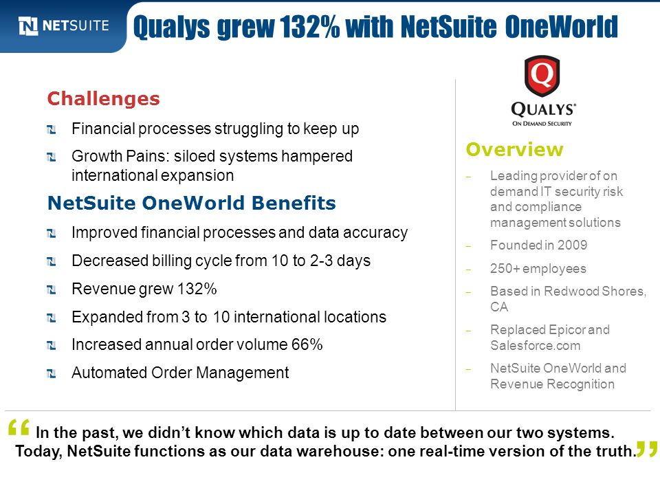 Qualys grew 132% with NetSuite OneWorld