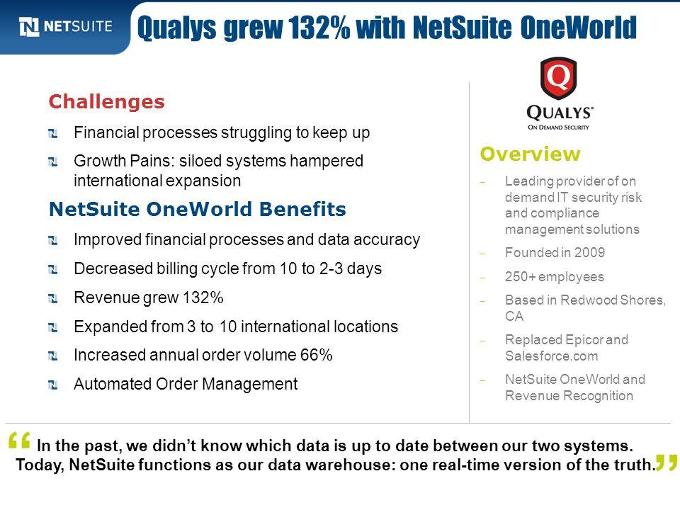 Qualys grew 132% with NetSuite OneWorld