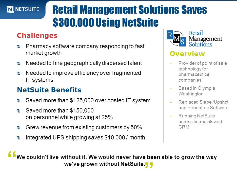 Retail Management Solutions Saves $300,000 Using NetSuite