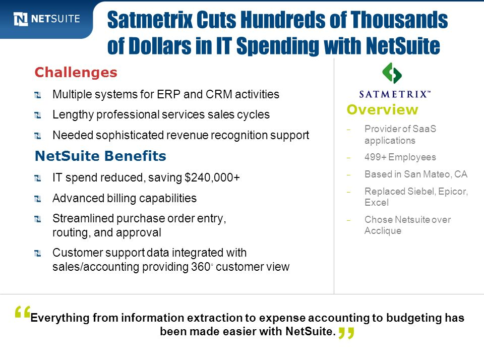 Satmetrix Cuts Hundreds of Thousands of Dollars in IT Spending with NetSuite