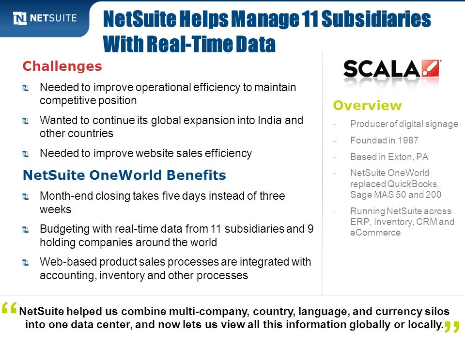 NetSuite Helps Manage 11 Subsidiaries With Real-Time Data