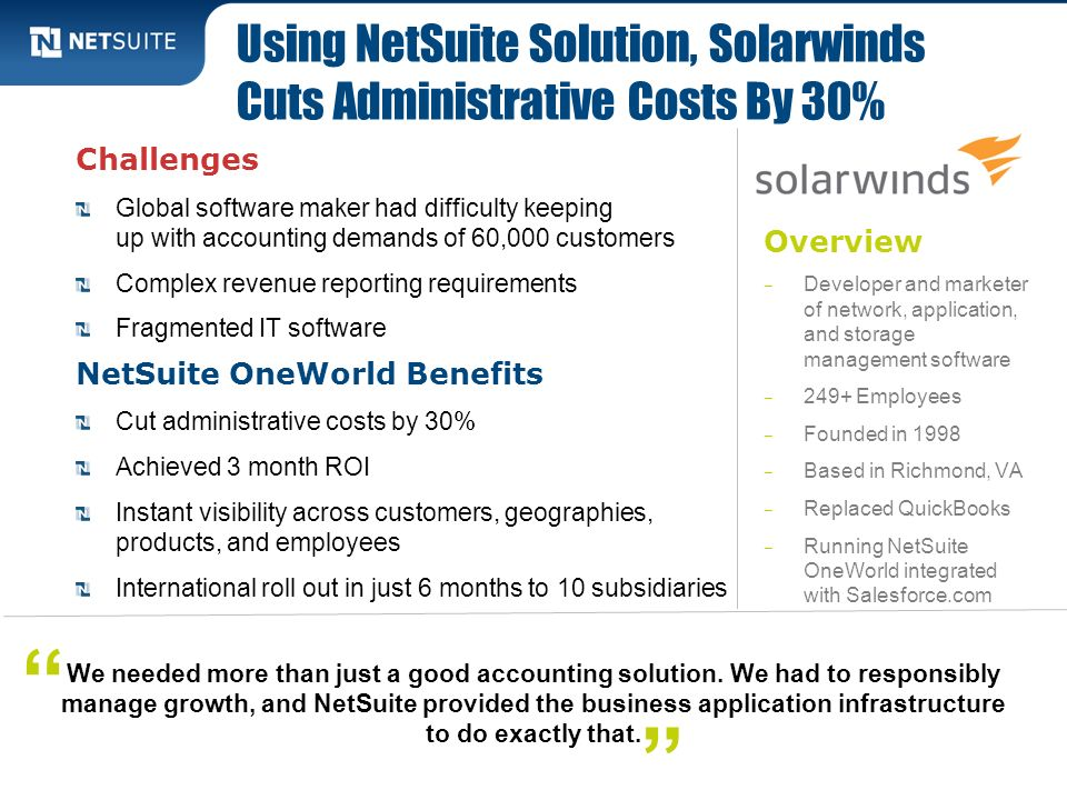 Using NetSuite Solution, Solarwinds Cuts Administrative Costs By 30%