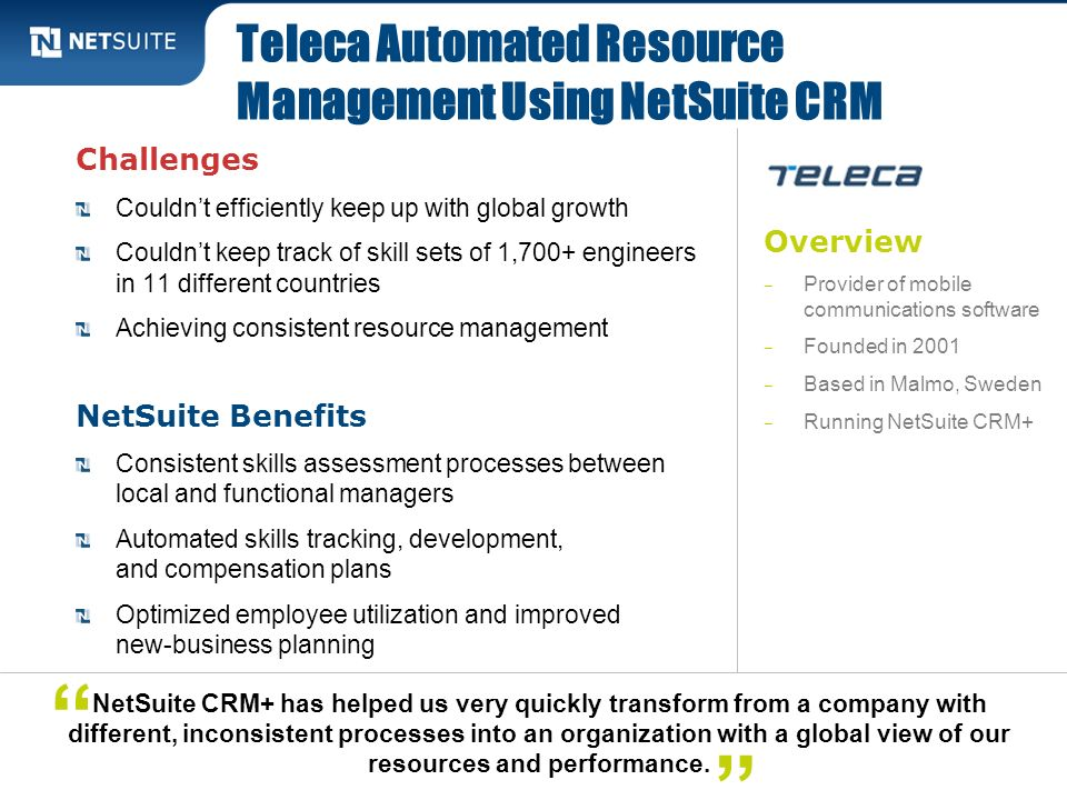 Teleca Automated Resource Management Using NetSuite CRM
