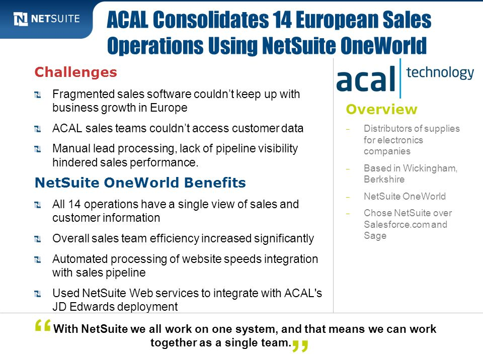 ACAL Consolidates 14 European Sales Operations Using NetSuite OneWorld