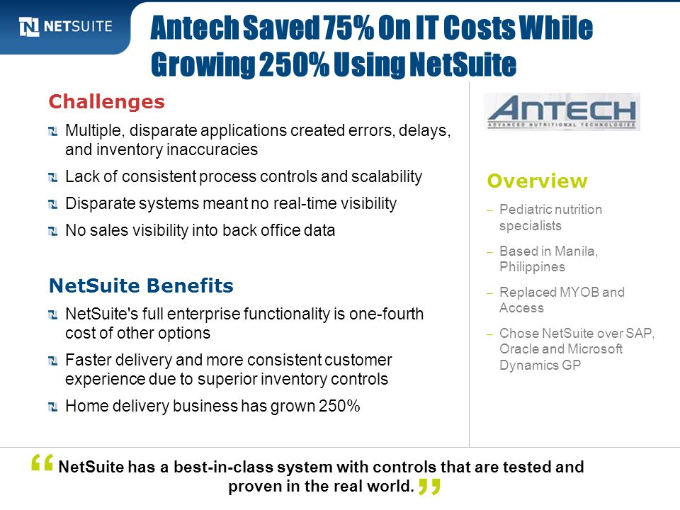 Antech Saved 75% On IT Costs While Growing 250% Using NetSuite
