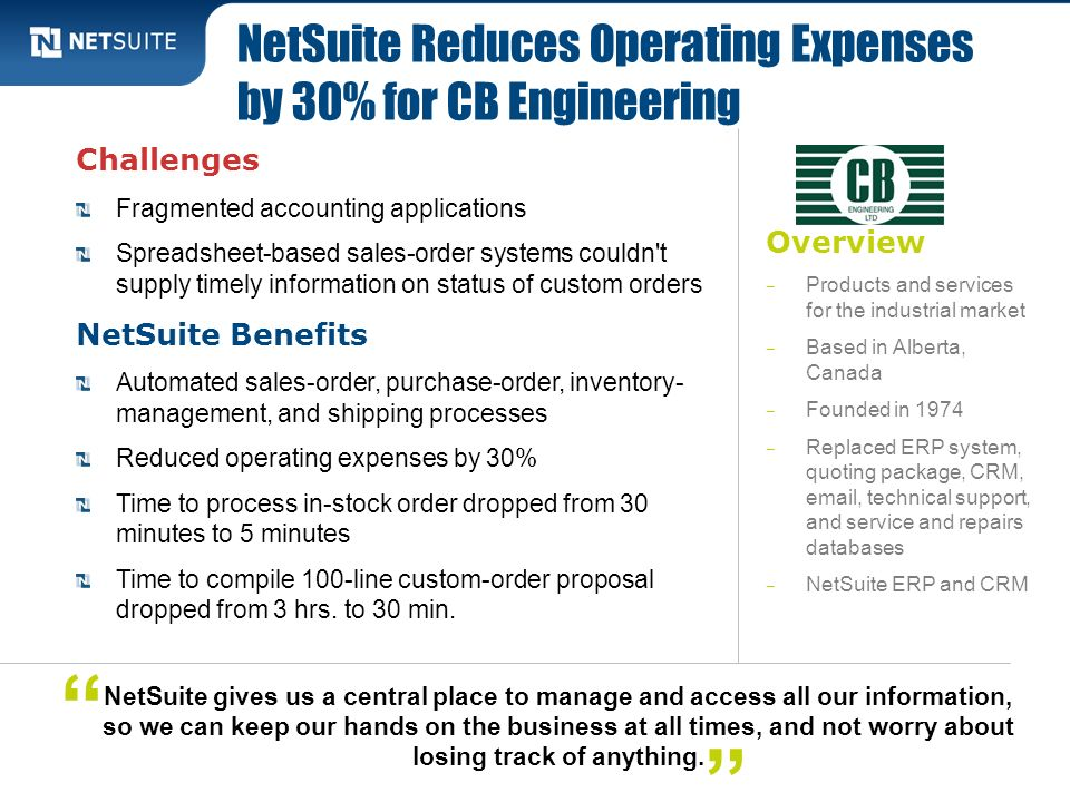 NetSuite Reduces Operating Expenses by 30% for CB Engineering