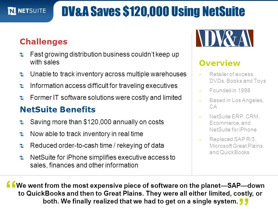 DV&A Saves $120,000 Using NetSuite