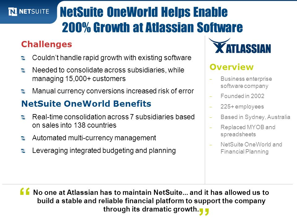 NetSuite OneWorld Helps Enable 200% Growth at Atlassian Software