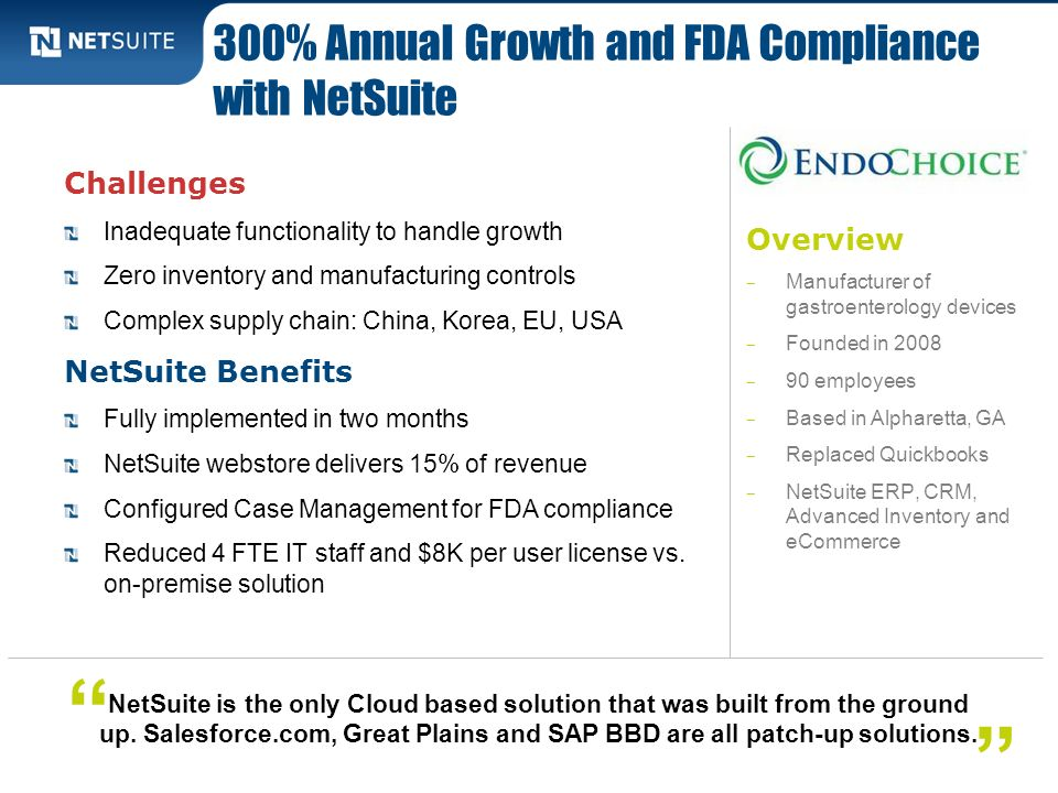300% Annual Growth and FDA Compliance with NetSuite