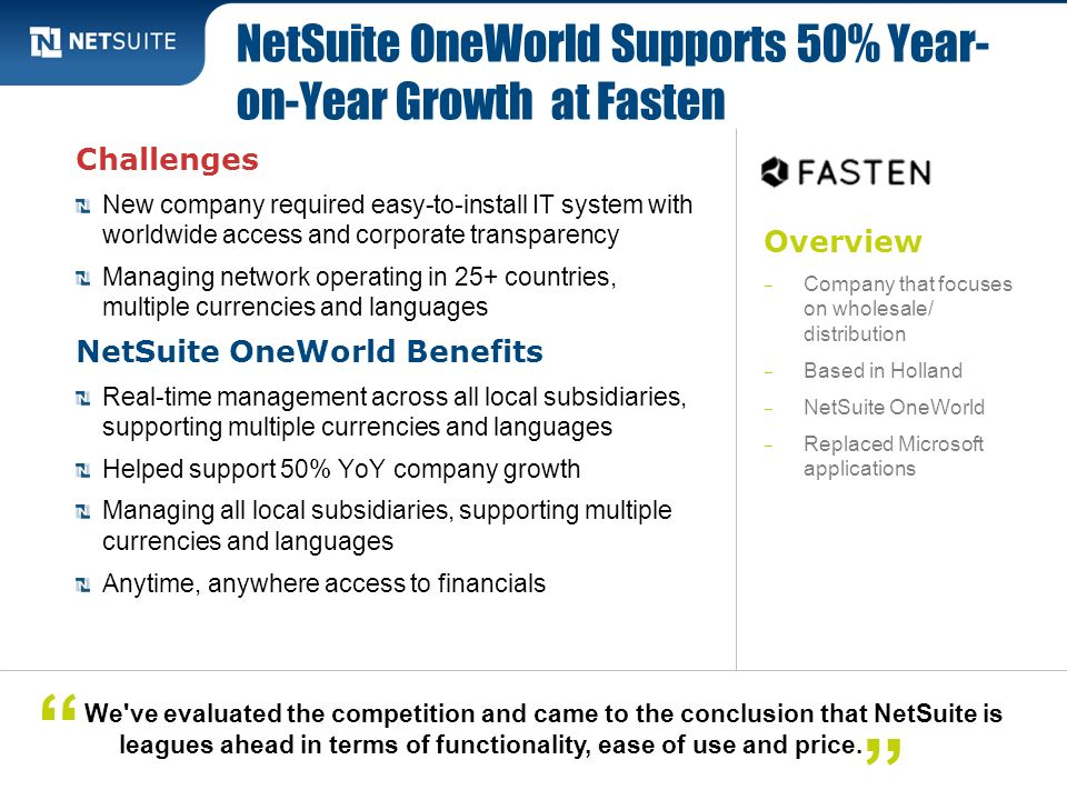 NetSuite OneWorld Supports 50% Year-on-Year Growth at Fasten