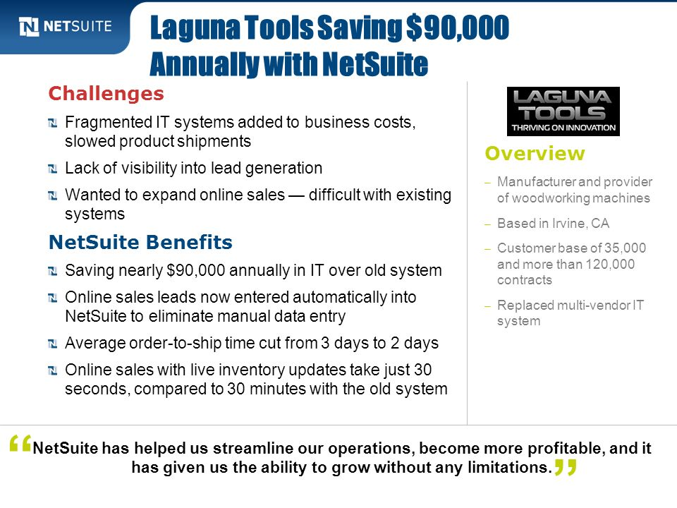 Laguna Tools Saving $90,000 Annually with NetSuite