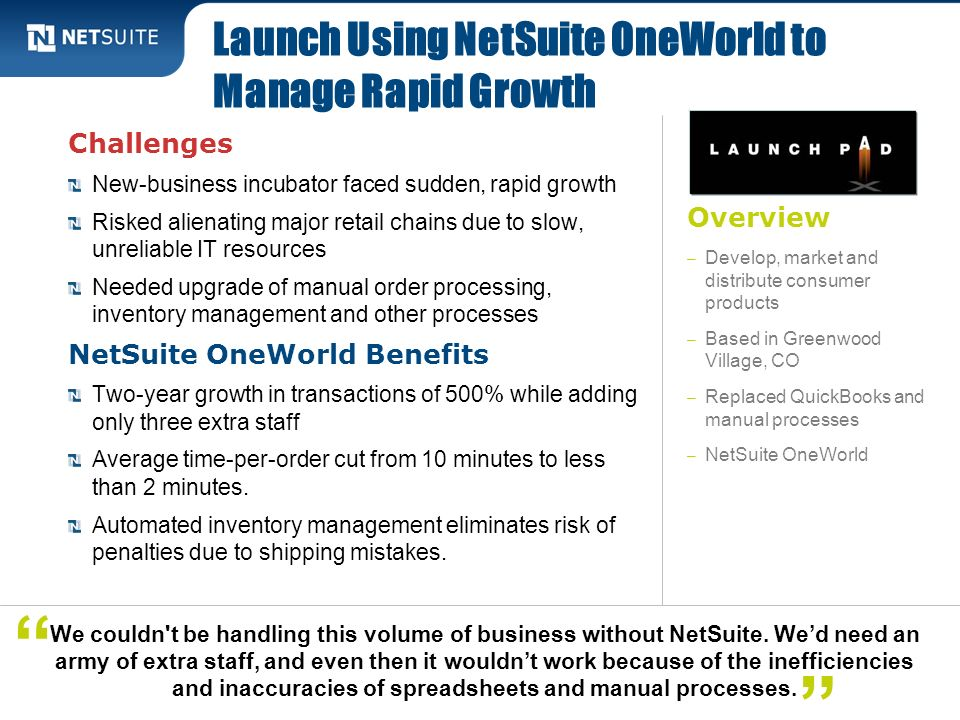 Launch Using NetSuite OneWorld to Manage Rapid Growth