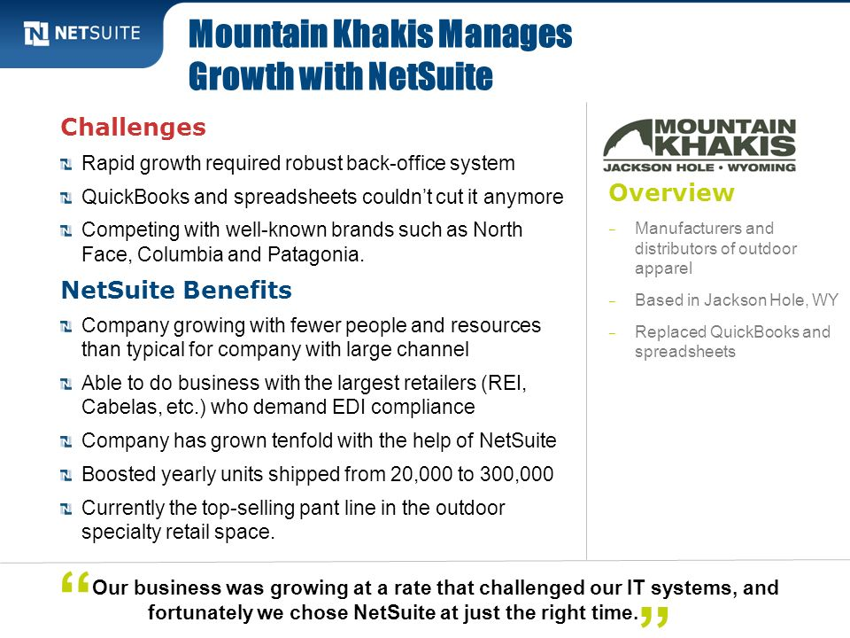 Mountain Khakis Manages Growth with NetSuite