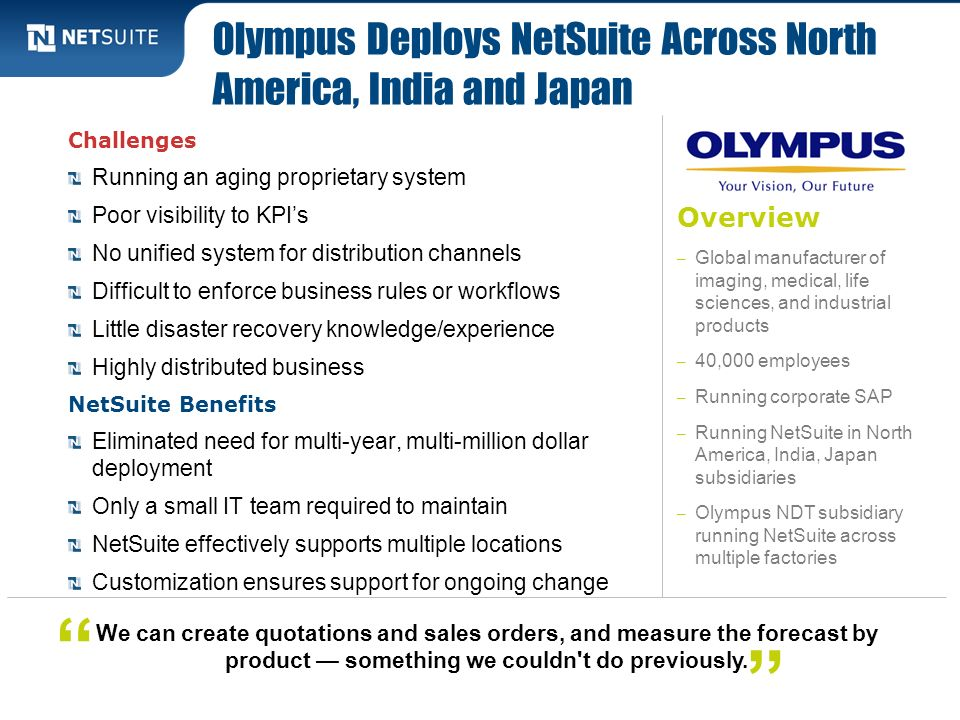 Olympus Deploys NetSuite Across North America, India and Japan