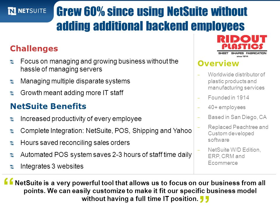 Grew 60% since using NetSuite without adding additional backend employees