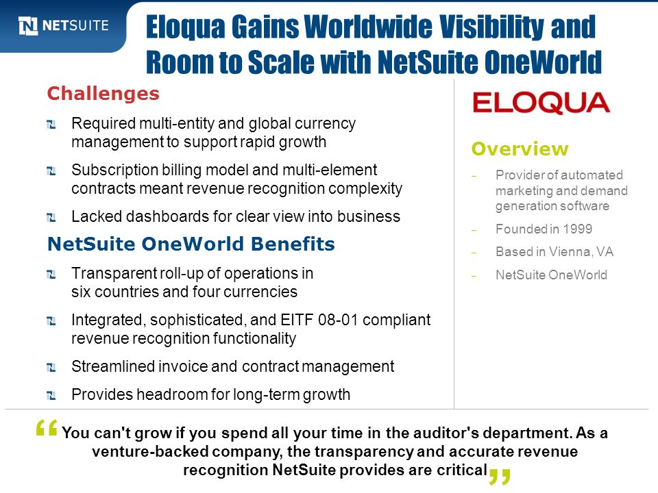 Eloqua Gains Worldwide Visibility and Room to Scale with NetSuite OneWorld