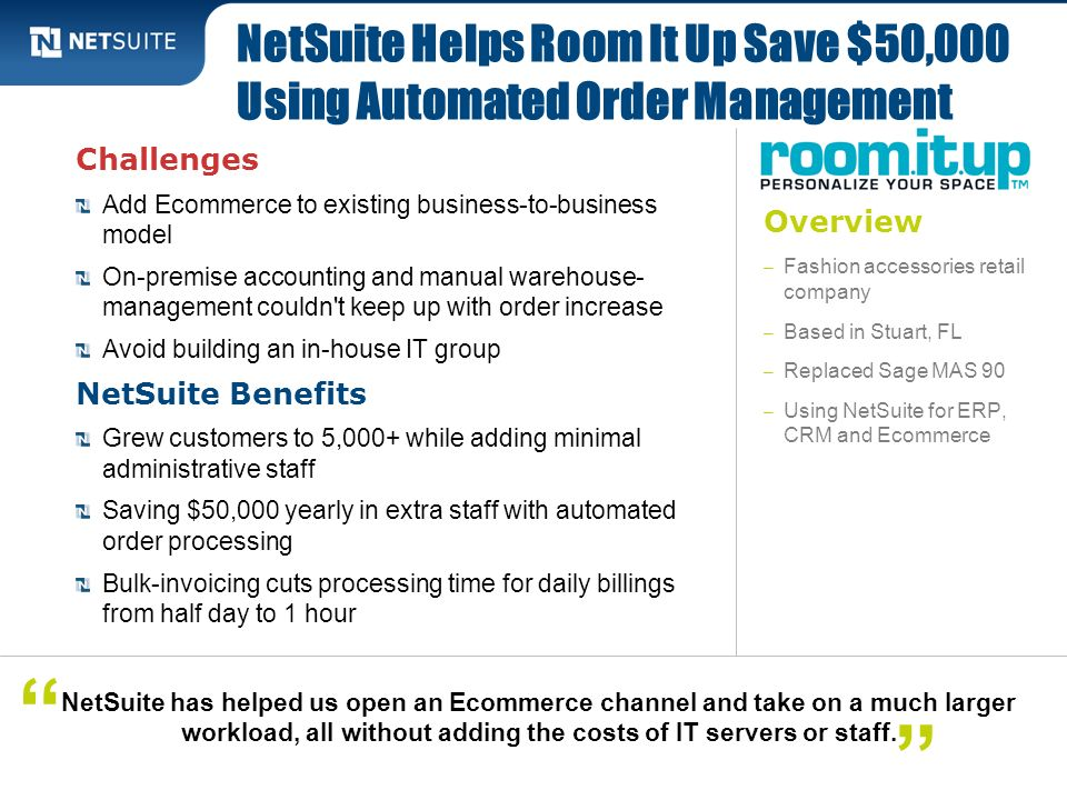 NetSuite Helps Room It Up Save $50,000 Using Automated Order Management