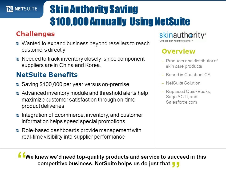 Skin Authority Saving $100,000 Annually Using NetSuite