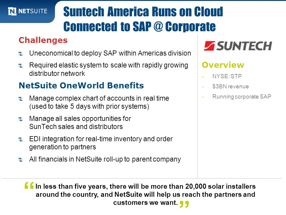 Suntech America Runs on Cloud Connected to Corporate