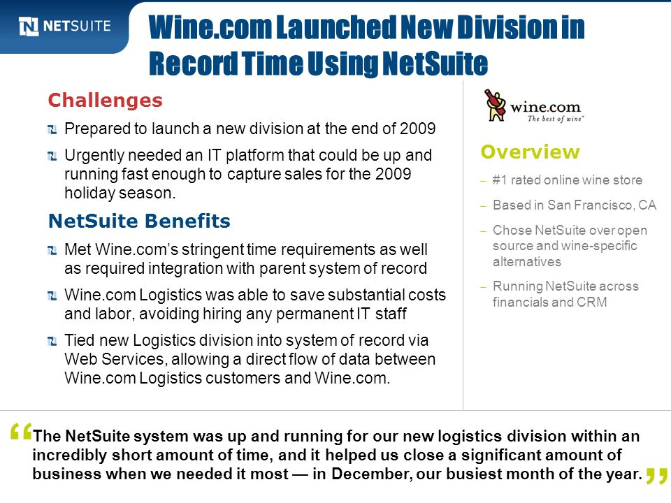 Wine.com Launched New Division in Record Time Using NetSuite