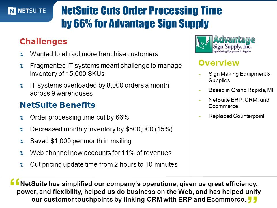 NetSuite Cuts Order Processing Time by 66% for Advantage Sign Supply