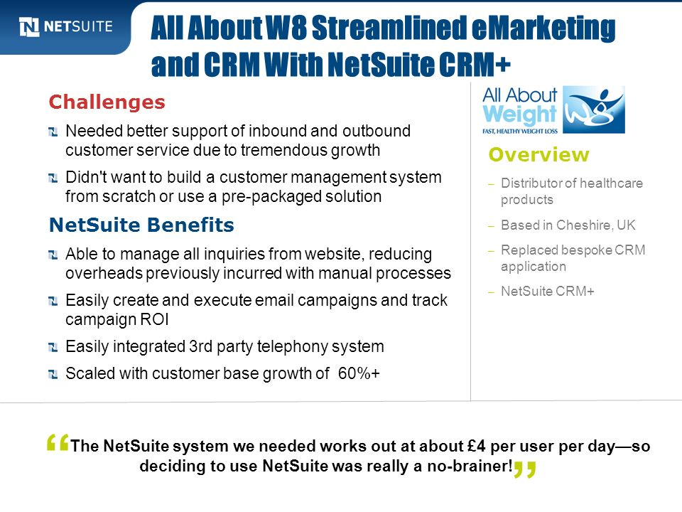 All About W8 Streamlined eMarketing and CRM With NetSuite CRM+